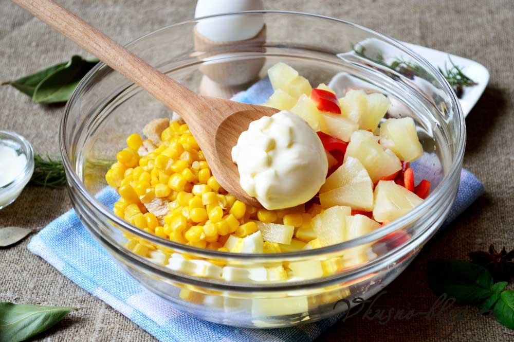 Рецепт салата курица ананас