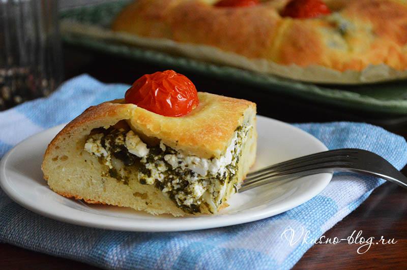 Пирог со шпинатом и творогом - фото рецепт