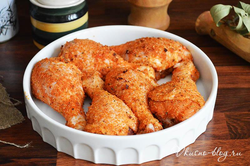 Куриные голени в панировке со специями - запекание