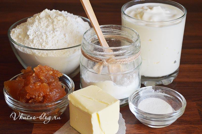 Рецепт рогаликов с повидлом - ингредиенты