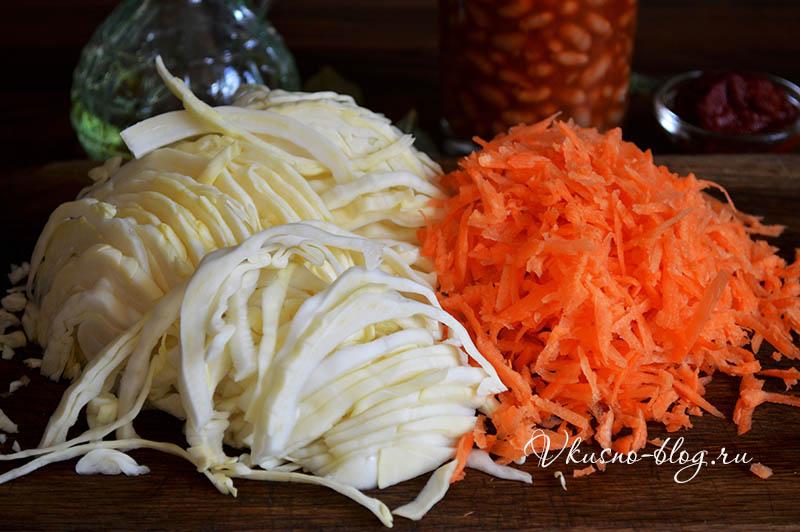 Тушеная капуста с фасолью - подготовим овощи