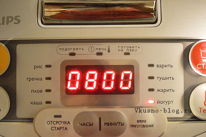 Йогурт в мультиварке Philips 3036/03 - устанавливаем программу