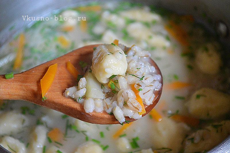 Перловый суп с галушками рецепт с фото