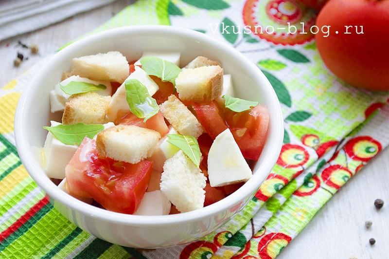 Салат с помидорами и сыром моцарелла 6