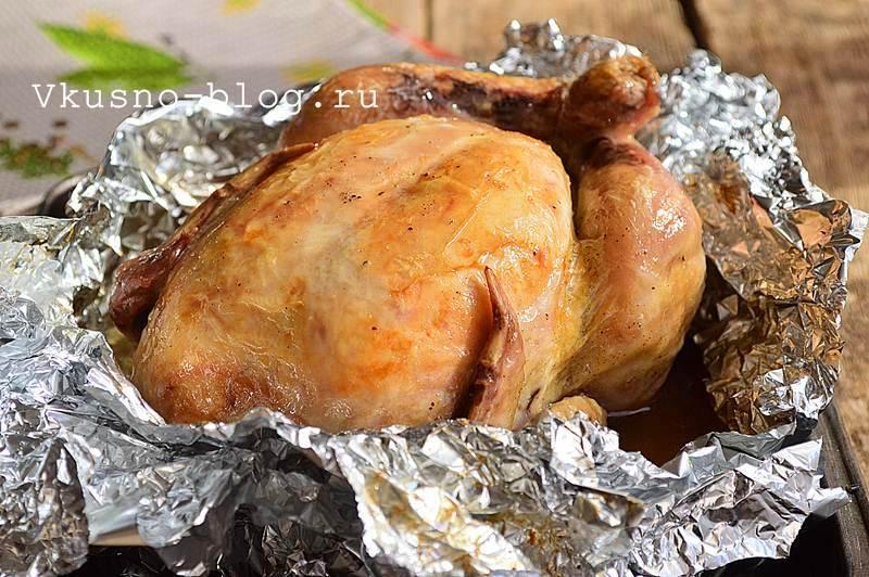 Курица в фольге в духовке целиком