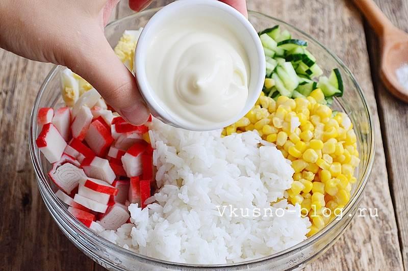 Крабовый салат с рисом 7