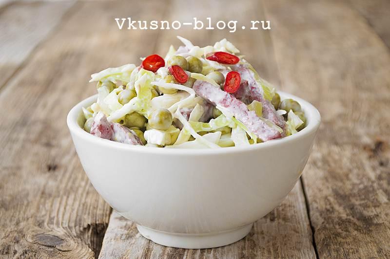 """Салат """"Днестр"""" из капусты с колбасой и горошком 9"""