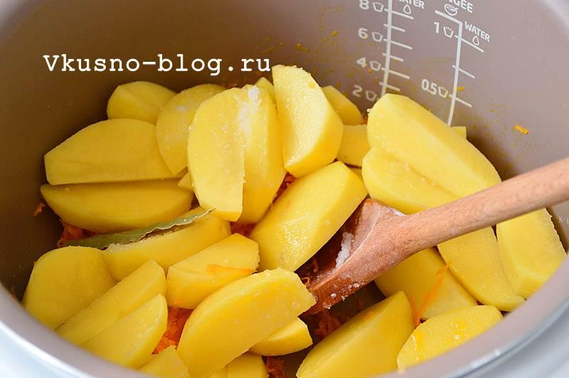 Тушеная картошка в мультиварке 9