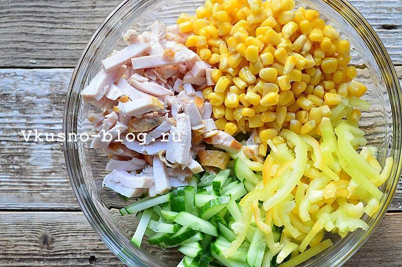 Вкусный салат с копченой курицей