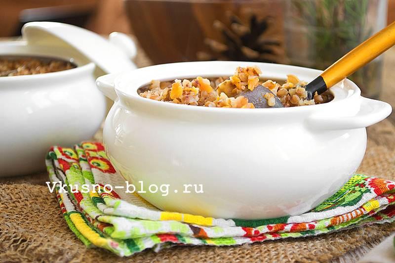 Гречка с грибами в горшочках рецепт с фото