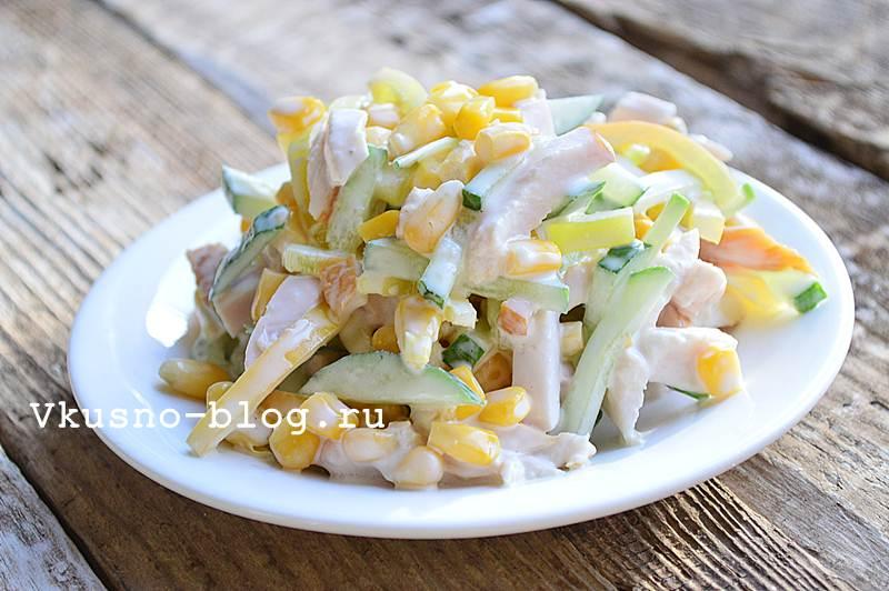 Салат с копченой курицей рецепт