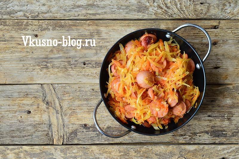 Тушеная капуста с сосисками рецепт