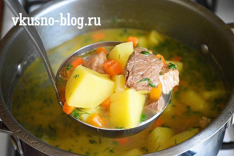 Картофельный суп с жареным мясом