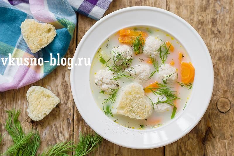 Суп с плавленным сыром и фрикадельками