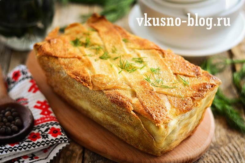 Блинный пирог с курицей и грибами рецепт