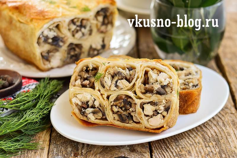 Блинный пирог с курицей и грибами рецепт пошагово