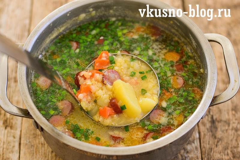 Гороховый суп с охотничьими колбасками рецепт