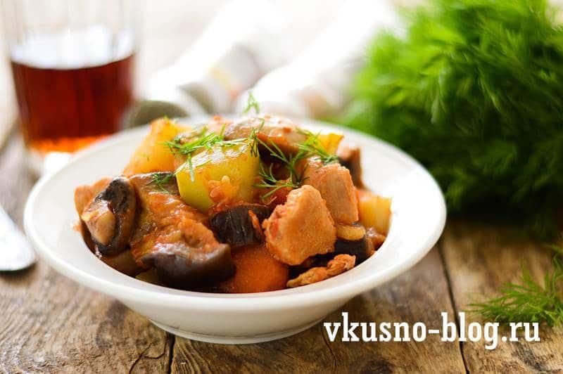 Рецепт грибы с курицей и овощами