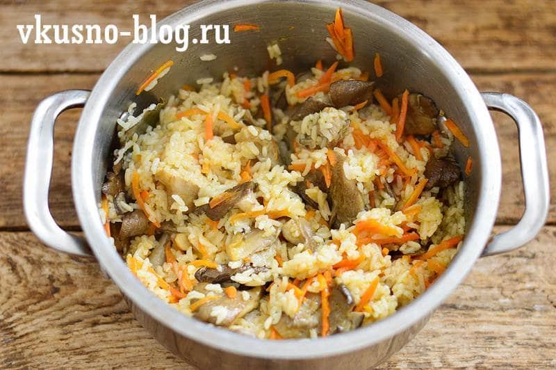 Рис с грибами рецепт пошагово