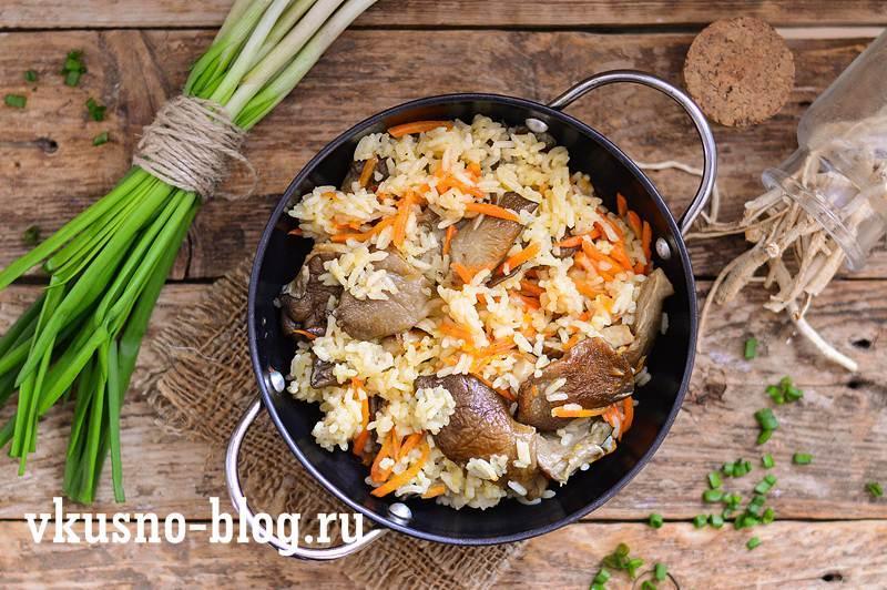 Рис с вешенками