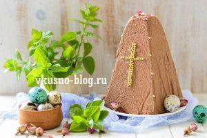 Шоколадная творожная пасха с вишней