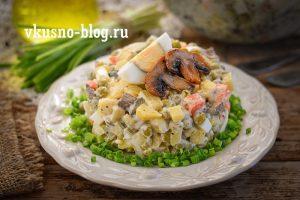 Оливье с грибами (вместо мяса)