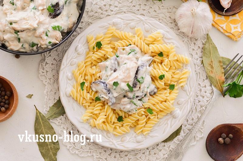 Курица с грибами в сметане рецепт с фото