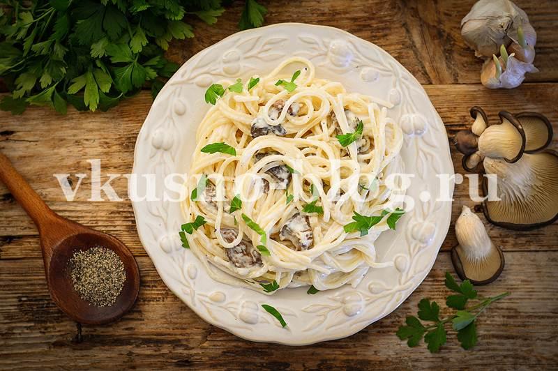 Спагетти с грибами в сливочном соусе - пошаговый рецепт с фото