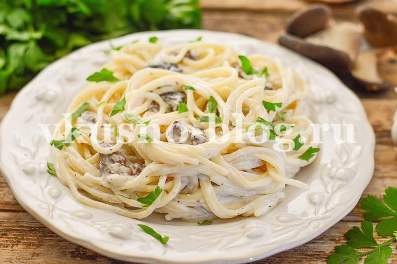 Спагетти в сливочном соусе с грибами рецепт