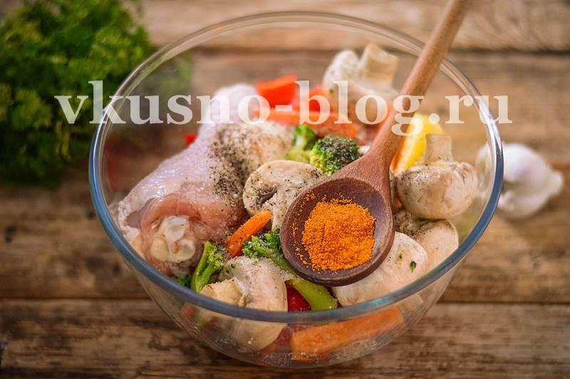 курица с овощами в рукаве
