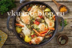 Курица с овощами в рукаве в духовке