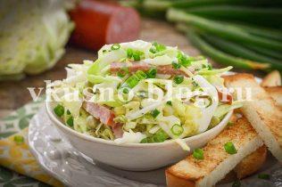 Вкусный салат с молодой капустой