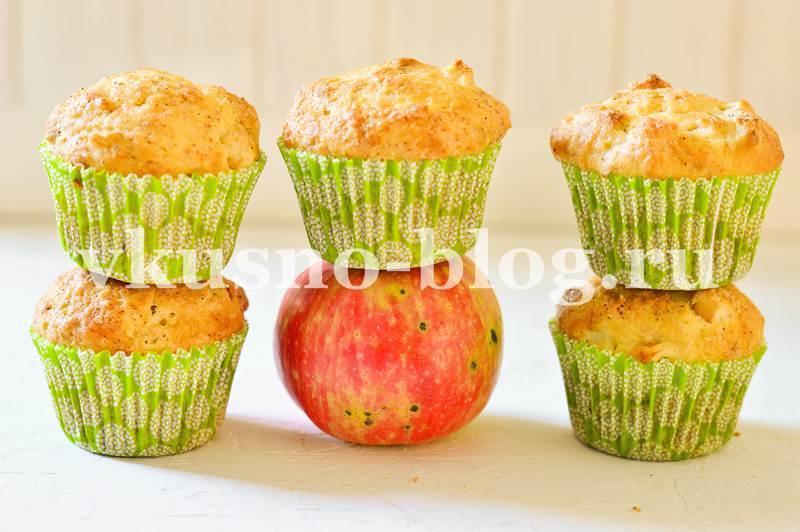 Маффины на кефире с яблоками