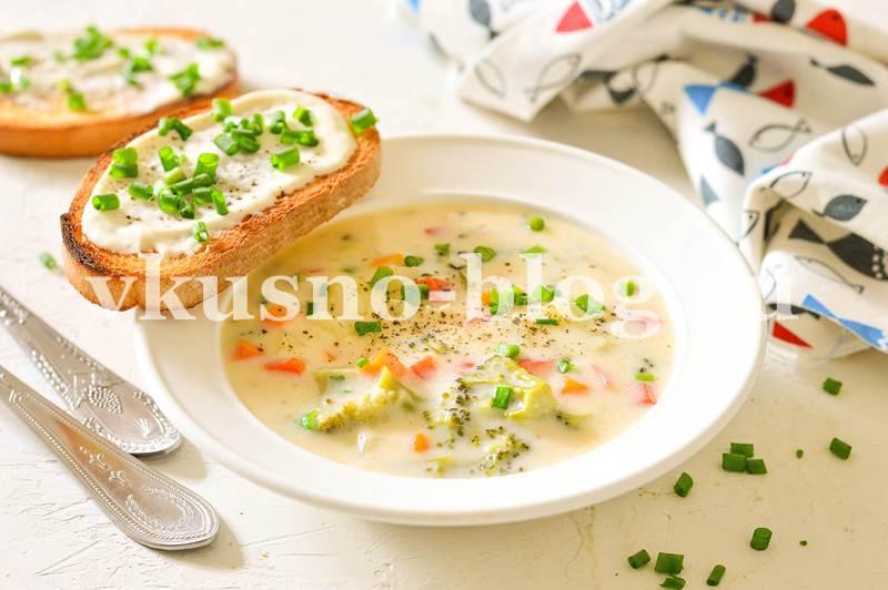 Вегетарианский сырный суп